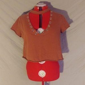 Forever 21 Orange studded short sleeve crop top